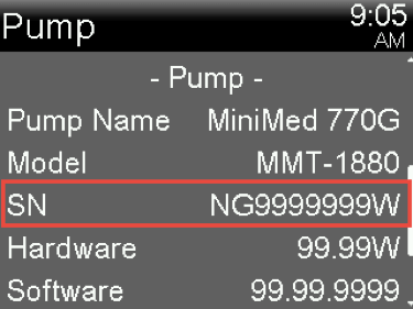 Look on the Pump Status screen