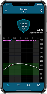 Smartphone showing glucose history  on CareLink Connect app
