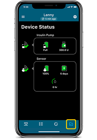 Device Status screen